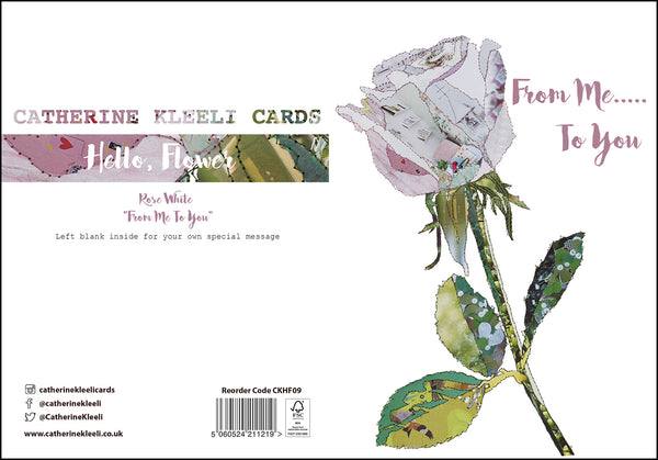 CKHF09 'Rose White - From me To you' Greetings Card (packed in 6's)