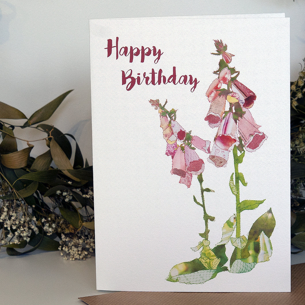 CKHF07 'Foxgloves - Happy Birthday' Greetings Card (packed in 6's)
