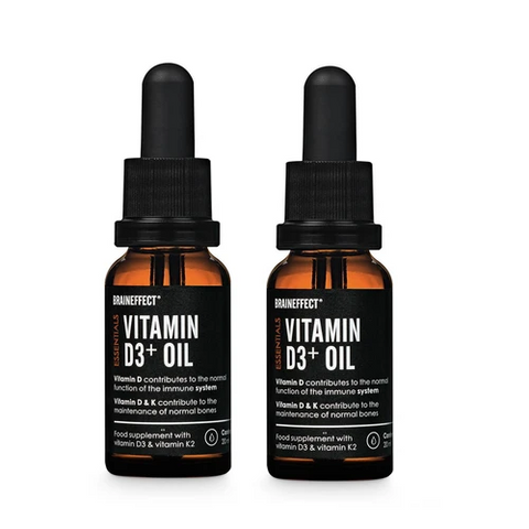 BrainEffect Vitamin D3+ K2 Drops Double Pack - 2x20ml