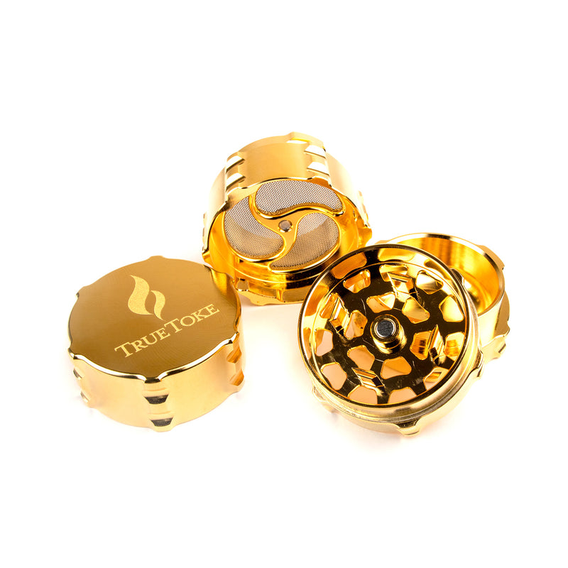 truetoke small 4-piece herb grinder 24k gold plated