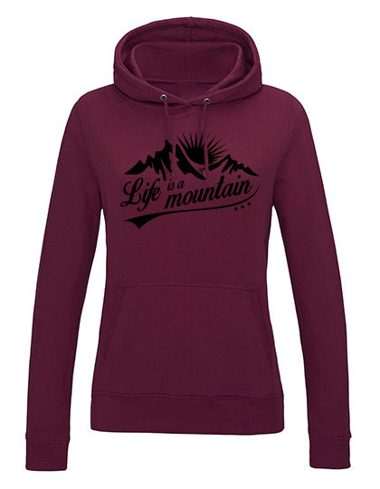 Life is a Mountain Hoodie Damen burgundy