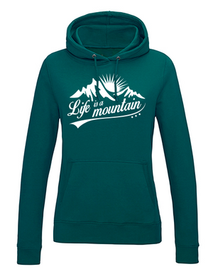 Life is a Mountain Hoodie Damen Jade