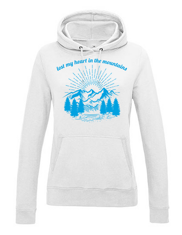 Lost my heart in the mountains Girls Hoodie white