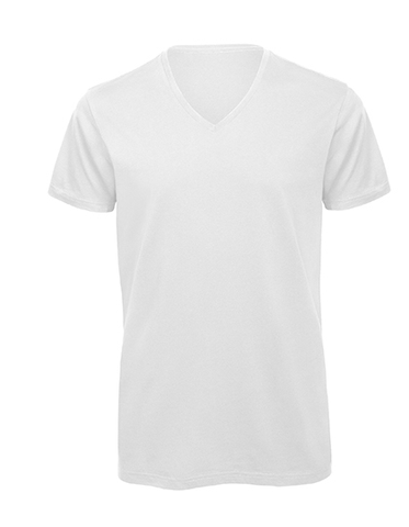 Men´s Basic T V-Neck white, Bio & Fairtrade