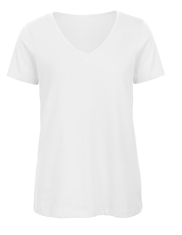 Ladies Basic T V-Neck white, Bio & Fairtrade