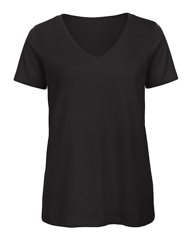Ladies Basic T V-Neck black, Bio & Fairtrade
