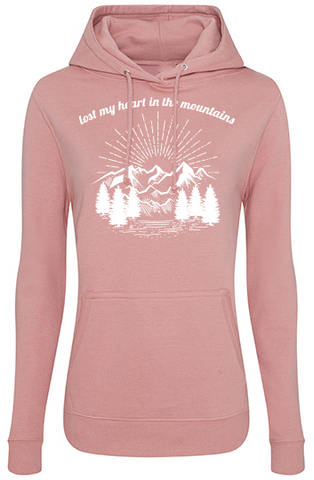 Lost my heart in the mountains Girls Hoodie dirty pink