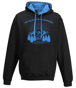 Lost my heart in the Mountains 2-tone Hoodie black-blue