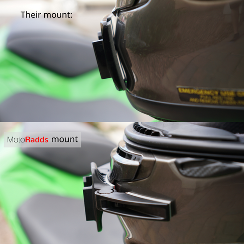 MotoRadds chin mount on Shoei Rf1200 compared to GoPro chin mount