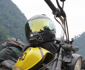 MotoRadds Helmet Chin Mount with GoPro on Vietnam motorcycle