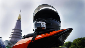 MotoRadds motorcycle chin mount on Bell helmet