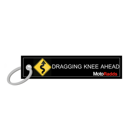 MotoRadds Dragging Knee Ahead Key Tag with Curvy Roads Sign