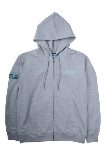 ISOMETRIC BLOCK LOGO ( REFLECTIVE ) GREY FULL ZIP HOODIE