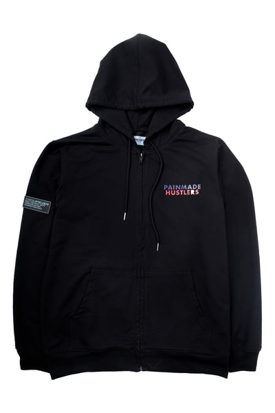 ISOMETRIC BLOCK LOGO ( REFLECTIVE ) BLACK FULL ZIP HOODIE