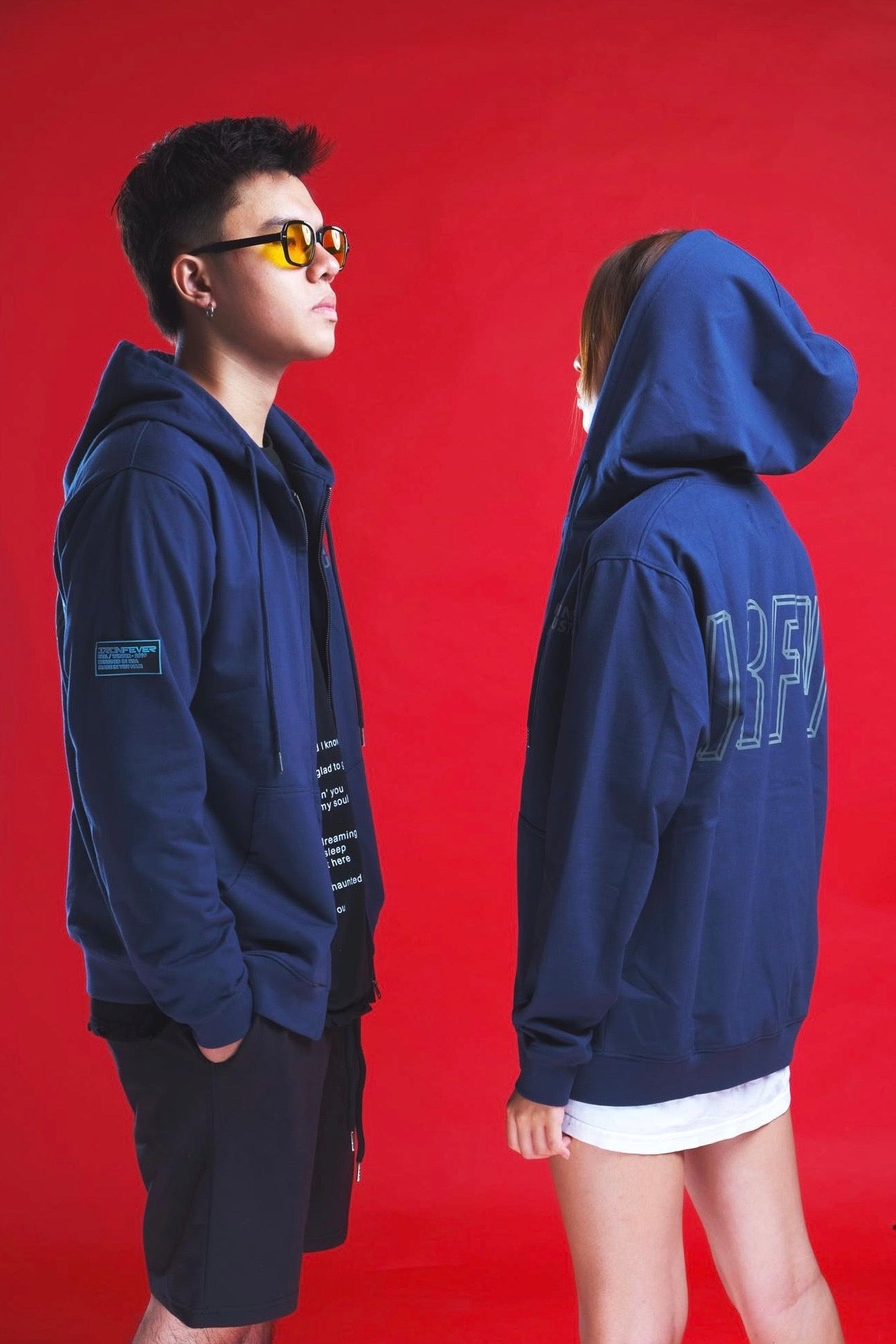 ISOMETRIC BLOCK LOGO ( REFLECTIVE ) NAVY FULL ZIP HOODIE
