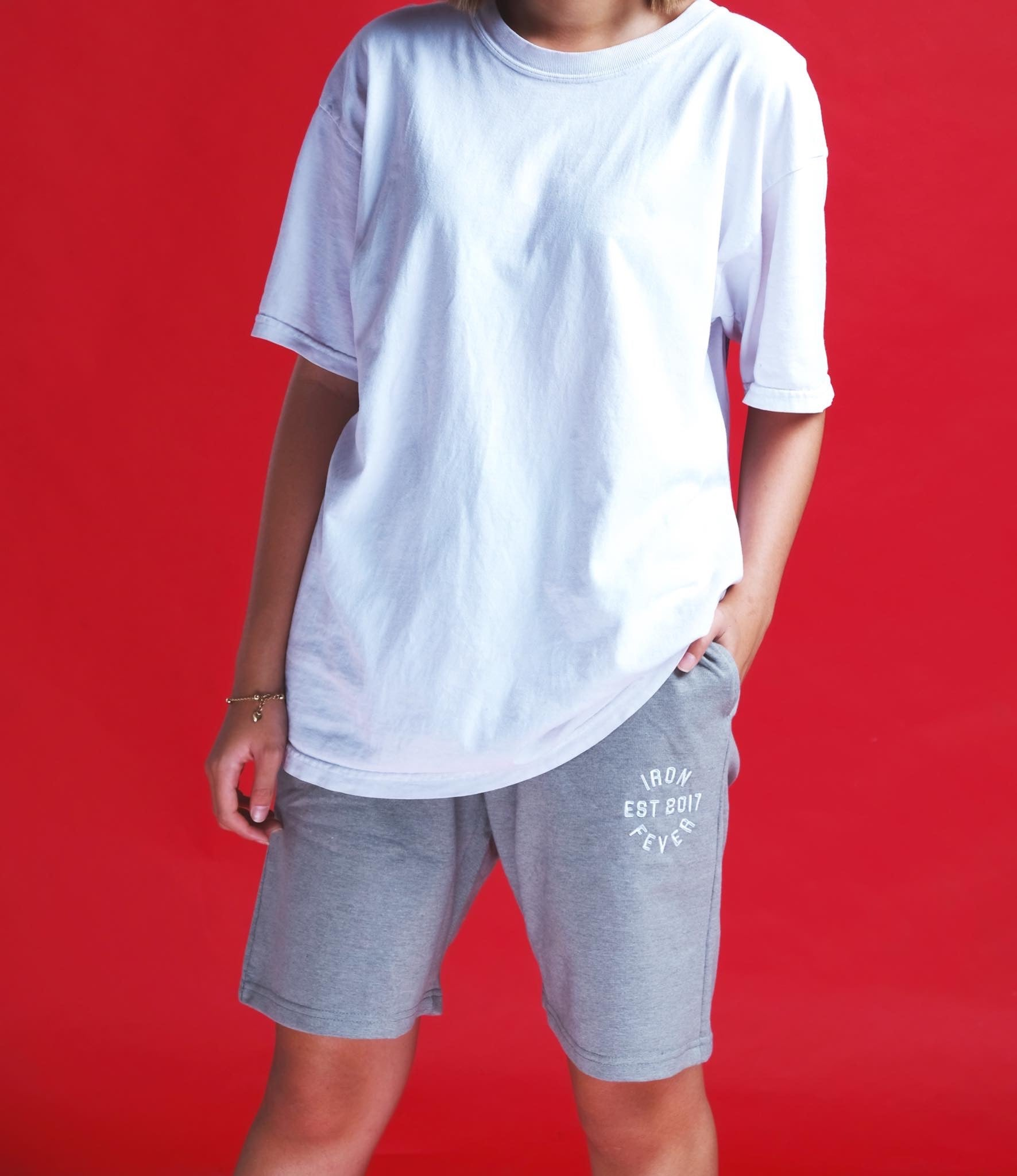 IRONFEVER GREY PLAIN SHORTS