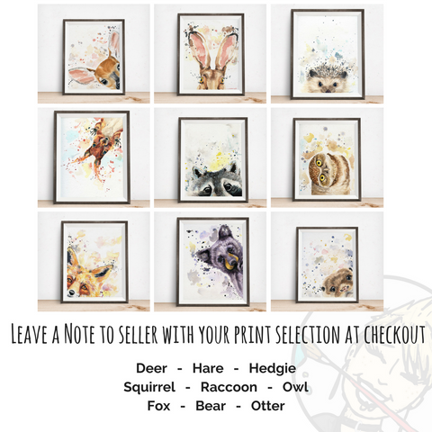 Watercolour Raccoon Art Print | Woodland Animal Prints