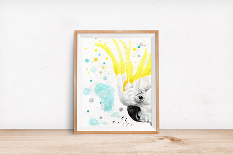 Cockatoo Watercolor Print - Peekaboo Animals