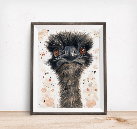 Emu Watercolor Painting Original - Peekaboo Animals
