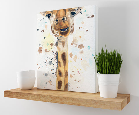Giraffe Canvas Print | Watercolor Safari Prints
