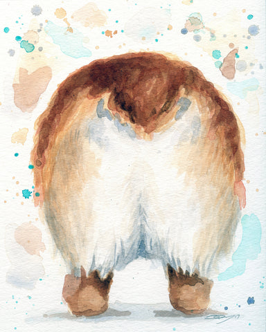 Corgi Butt - Watercolor Corgi Art