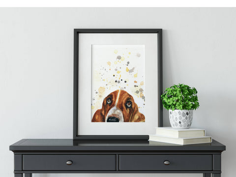 Basset Hound Dog Breed Watercolor Pet Art Print