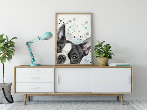 Boston Terrier Dog Artwork Wall Art Print