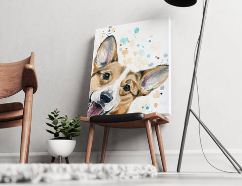 Corgi Canvas - Watercolor Corgi Art