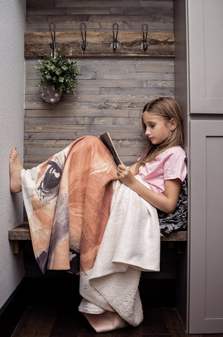 Large Fleece Fox Blanket