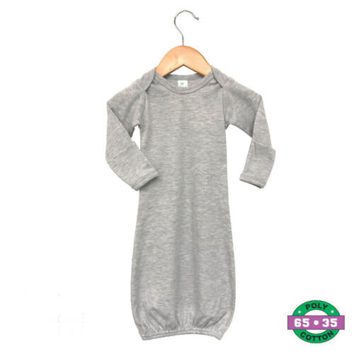 Heather Grey Infant Gowns- 65% Poly