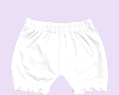 Infant White Baby Bloomers- 100% Polyester