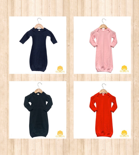 Infant Solid Gowns- 100% Cotton