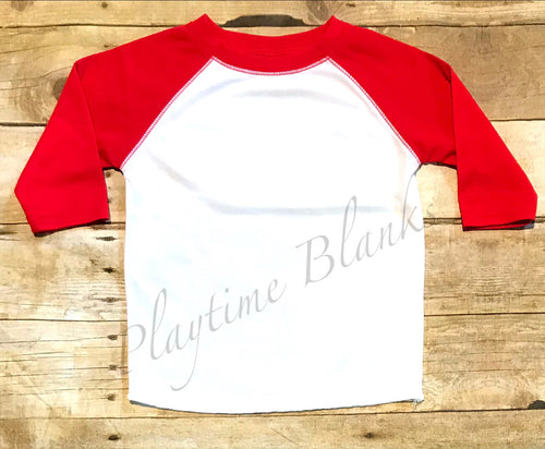 Youth White/Red Raglan Shirt- 100% Poly