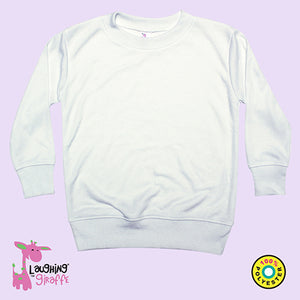 Toddler White LS Sweatshirt Style T Shirt- 100% Polyester