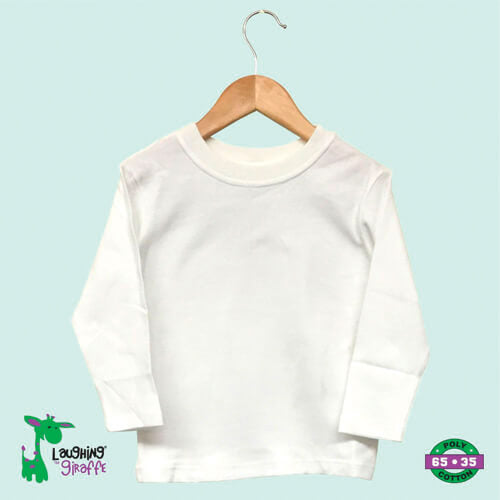 White Long Sleeve Crew Neck- 65% Poly