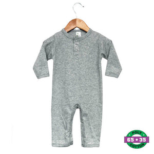 Gray Baby Henley Sleep & Play- 65% Poly