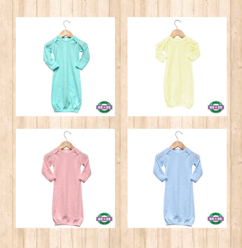 Pastel Infant Solid Gowns- 65% Poly