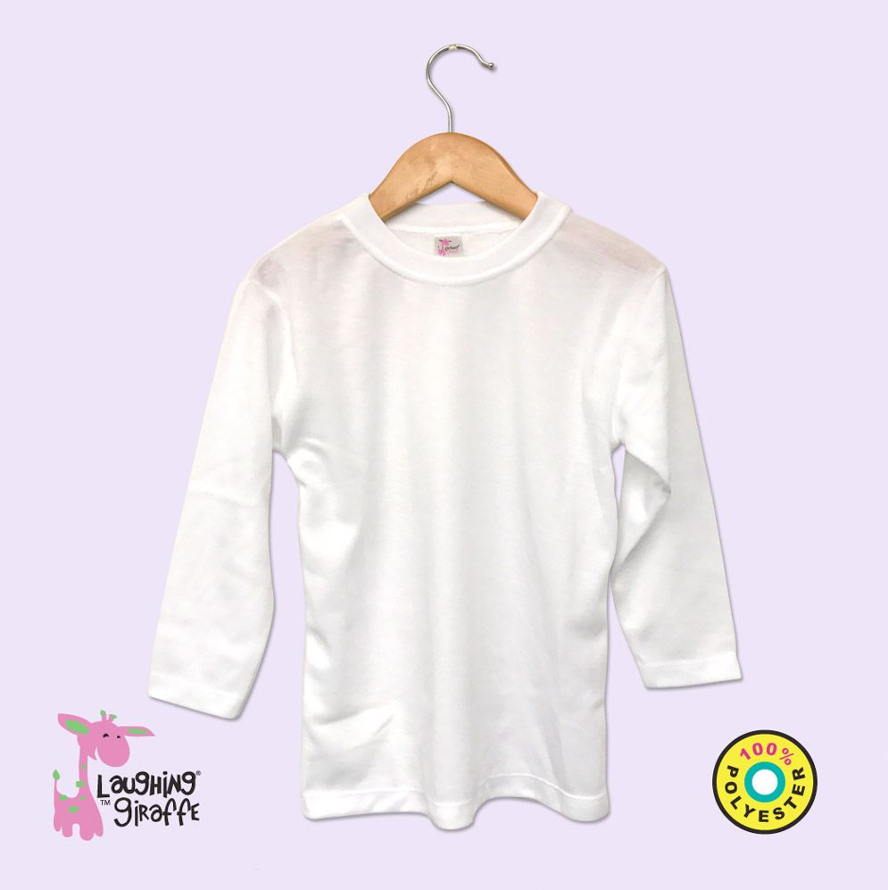 Youth White Long Sleeve Crew Neck- 100% Poly