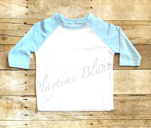 Infant Raglan T-Shirt - White/Blue- 65% Poly