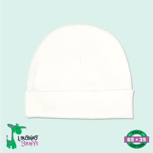 White Infant Beanie- 65% Poly