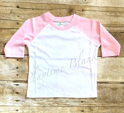 Infant Raglan T-Shirt - White/Pink- 65% Poly
