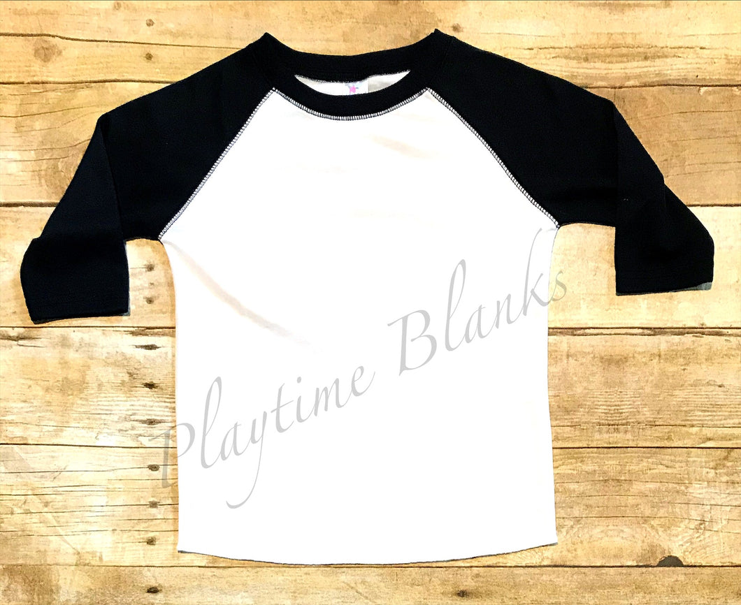 Youth White/Black Raglan Shirt- 100% Poly