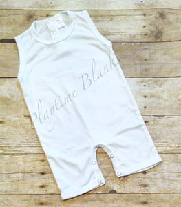 White Sleeveless Romper- 100% Poly