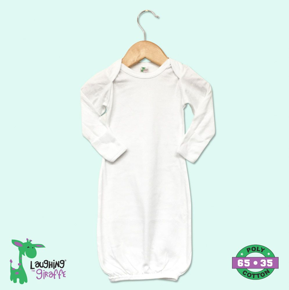 White Infant Gown with Mittens- 65% Poly