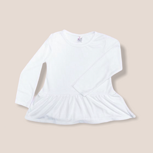 Toddler White LS Peplum Top- 100% Polyester