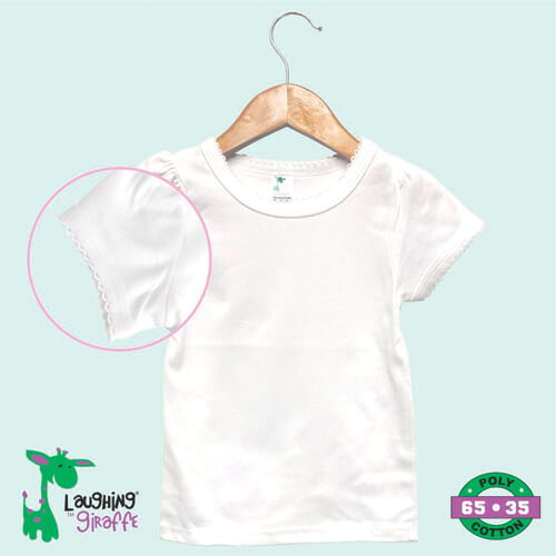 Infant & Toddler Scallops T Shirt S/S- White- 65% Poly