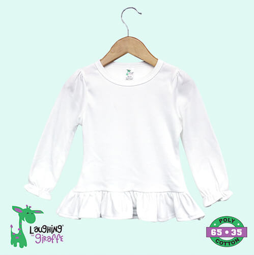 Youth White LS Ruffle Hem Shirt- 65% Polyester