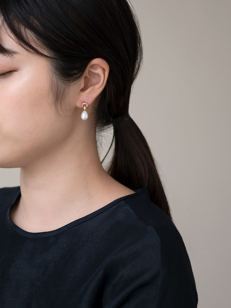 Pearl double circle stud pierce Ⅱ