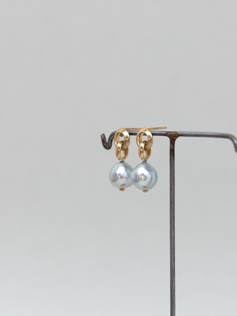 Pearl double circle stud pierce Ⅰ