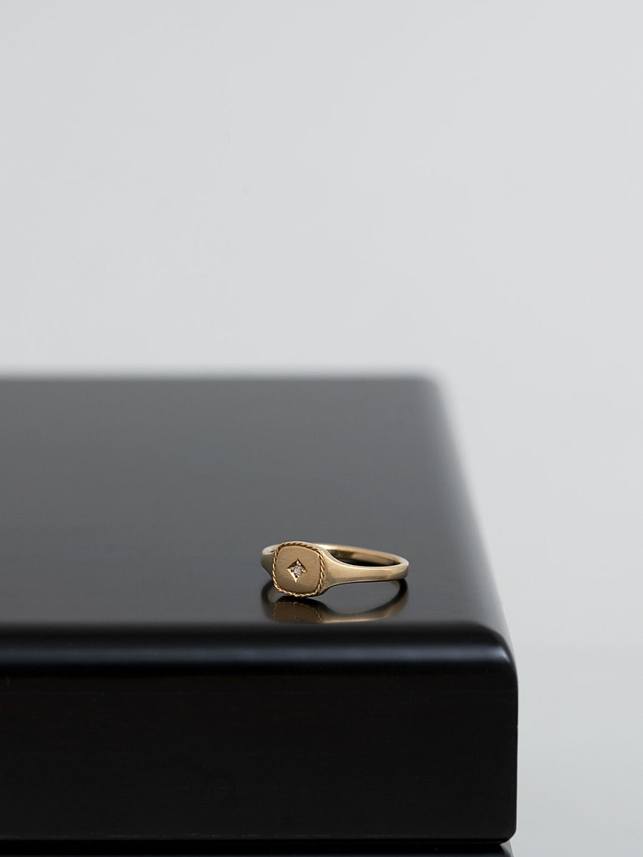 Signet square ring -inlay- M